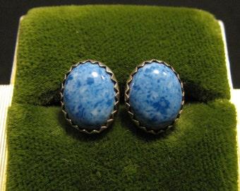 Vintage Southwestern Oval Sterling Silver Blue Denim Lapis Sawtooth Stud Post Pierced Earrings