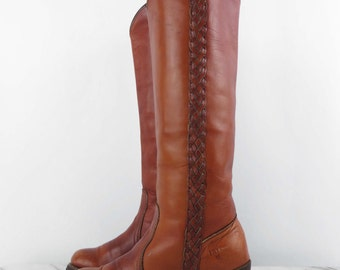 FRYE Campus Leather Boots Womens Riding 1970s Cognac Tan Tall Heeled Boots Braided Sides size 6