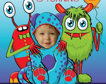 Baby Monster Birthday Party Invitation -  DIGITAL FILE - Personalized with photo