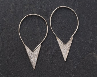 Sampa Drop Earrings (simple everyday lace texture casual recycled silver hoop earrings gift idea for her)