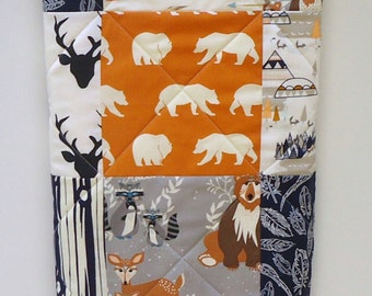 Navy Baby Quilt-Boy-Blue-Orange-Gray-Rustic Tribal-Boy Bedding-TeePee-Woodland Crib Blanket-Aztec-Arrows-Forest Animals-Buck-Bear-Feathers