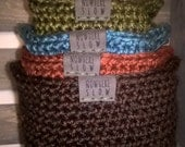 Nesting Baskets with Handles (Crochet - set of four) - Fall Colors - small organizers