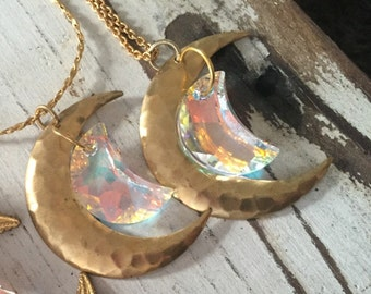 Super SALE Sailor Moon Inspired Rainbow Crystal Moon Gold Necklace
