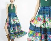 Vintage Indian Gauze Cotton Skirt Patchwork Floral Print Maxi Skirt Long Full Skirt Gypsy Festival Hippie Boho Skirt High Waist Skirt (L)