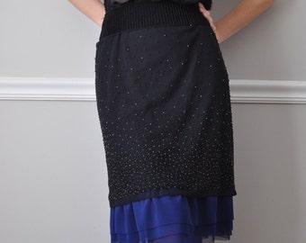 Slip Extender - Cobalt  Blue Tulle Ruffle Slip, Skirt Extender - XS S M L XL XXL