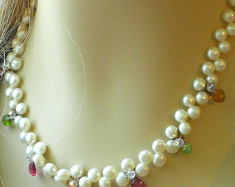 Tourmaline and Pearl  Necklace