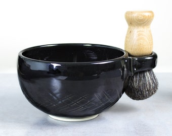 Wet Shaving Mug, Black Ceramic Shave Cup, Handmade Pottery, Father's day gift, Dad Husband Gift, groomsmen gifts for men