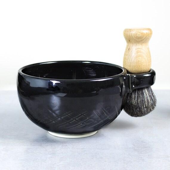 Wet Shaving Mug, Black Ceramic Shave Cup, Handmade Pottery, Valentines day gift, Father Husband Gift, groomsmen gifts for men dad