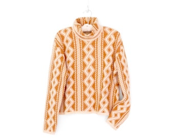90s Turtleneck Sweater * Vintage Boxy Pullover Sweater * Honey Cream Merino * Large