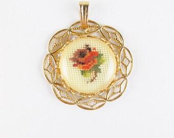 Vintage Needlepoint Rose Pendant