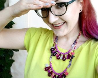 Bohemian Beaded Tassel Necklace, Purple Drop Amethyst Necklace, Boho Statement Necklace, Gipsy Ethnic Jewelry