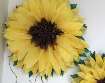 HAPPY SUNFLOWERS. 5 Giant Paper Flowers, yellow, wedding, photo booth, birthday party, bridal shower, tea party, baby shower decorations