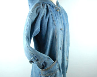 Oversized Raglan Denim Jacket with Hood, Size SMALL