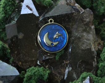 Dolphin Jumping Over the Moon Epoxy Pendant