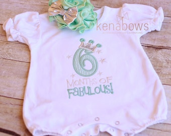 1/2 Birthday, 6 Month Outfit, Romper, 6 Months of Fabulous 1/2 Birthday Set, 6m Photo shoot, Mint, Silver, Big Mint Flower Headband