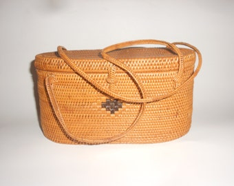 Basket Purse Natural Fiber Hand Woven Box Style Lidded Double Strap Vintage Fashion Must