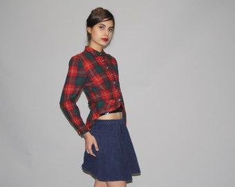 1950s Red Plaid Tuxedo Cropped Wool Jacket With Tails  - Vintage 50s Jackets - 50s Plaid Jacket  - WO0643