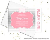 Unique baby shower invitations stripes | baby girl shower invite pink and gray | printable or printed - WLP00712