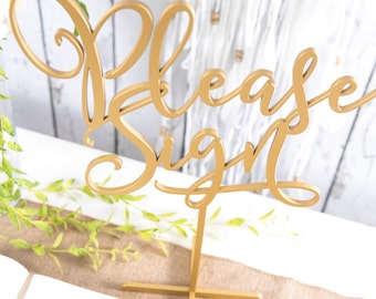 """Gold Standing Guestbook Table Sign """"Please Sign"""" DIY or Custom Painted Wedding or Party Table Decor Reception Signs (Item - LPS150)"""