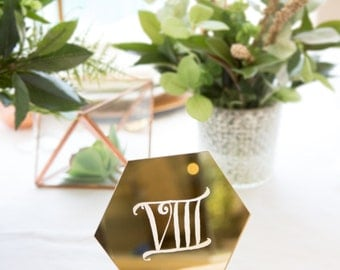 Hexagon Table Number Signs for Wedding Party Decor, Wood or Gold Acrylic Number or Roman Numerals Geometric Boho Centerpiece (Item - HEN200)