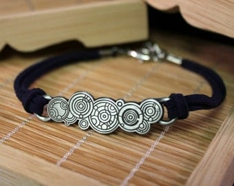 Dr Who Symbol Bracelet - The Doctor's Name in Old Gallifreyan - Doctor Who Inspired Stainless Steel and Leather Jewelry