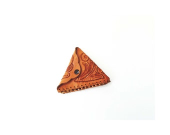 Vintage Tooled Leather Triangle Coin Purse