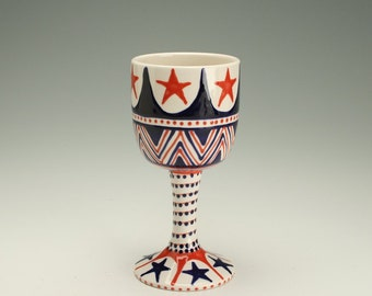 Ceramic Wine Glass, Stemmed Goblet Vessel Wine Glass Juice Cup, Americana Red White and Blue Stars and Stripes, Gifts For Wine Lovers