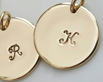 Gold Initial Necklace, Initial Pendant, Stamped Disc, Charmed Necklace, Personalized Monogram, Handmade Disc, Tag Charm