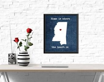 UNFRAMED Mississippi print, Home is where the heart is quote, Mississippi print, Mississippi wall art, Mississippi decor, Mississippi
