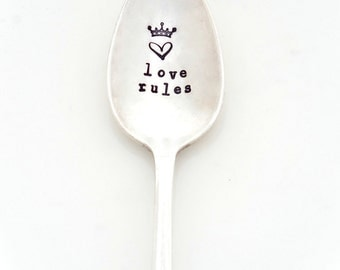 Love Rules Stamped Teaspoon. The ORIGINAL Hand Stamped Vintage Coffee Spoons™  by Sycamore Hill. Valentine's Day Gift. Gift for Coffee Lover