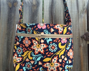 Zipper Pocket Cross Body Bag - Blue, Orange, Yellow and Pink Flowers