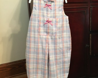 Pink and Blue Todder Jumpsuit, Pastel Plaid Baby Romper, Pink and Blue Plaid Girls Romper, Plaid Romper, Pink and Blue Girls Jumpsuit