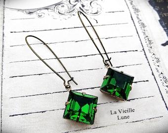 Emerald Crystal Victorian Earrings, Long Dangle Earrings, Victorian Jewelry, Gothic Jewelry
