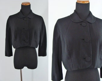 Vintage Fifties Jacket - 1950s Black Cropped Jacket - 50s Rayon Jacket with Peter Pan Collar - Large Bolero