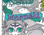 COLORING BOOK  The OrIgINaL Chubby Mermaid Coloring  Fun for all Ages You be the ArTiST Mermaids Sea life Ocean Beach
