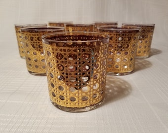Culver Cannella 22kt Gilded Rocks Glasses - Set of 8 - Midcentury Modern