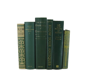 Green Vintage Decorative Book Set for Book Home Decor , Gift for Book Lover , Wedding Decor and Photo Prop