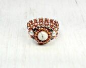 Bohemian Bead Ring - Howlite Beaded Ring - Hippie Ring - Women's Ring - Boho Jewelry - Women's Jewelry - Gifts For Her