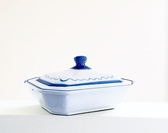 Klafrestrom Blue White Enameled Cast Iron Casserole Dish With Lid Made In Sweden Swedish Baking Pan Vintage Country Kitchen Folk Decor