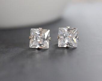 April Birthstone Stud Earrings, Square Crystal, Cubic Zirconia Post Earrings, Bridal Earrings, Bridesmaid Earrings