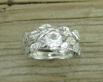 White Sapphire Wedding Set, White Sapphire Leaves Engagement Ring Set, White Sapphire Bridal Set, Leaves Ring Set, Leaf Ring Set, Leaf Ring