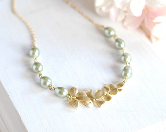 Sage Green Pearls Necklace Sage Wedding Bridal Necklace Bridesmaid Necklace Gold Orchid Flower Necklace Gift for Mom mothers day gift
