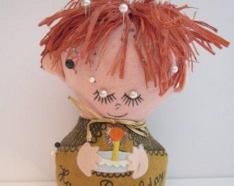 Vintage Western Union Happy Birthday Dolly Gram - Pin Cushion Doll