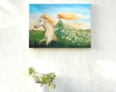 Horse painting, teen girl room, woman on a horse, horse print, canvas print, green fields, white horse, acrylic painting, spring flowers
