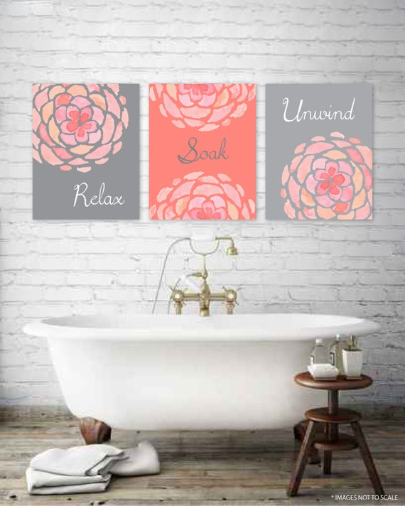 Relax soak unwind bathroom wall decor bathroom poster wall art for Relax bathroom wall decor