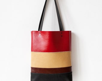 Clearance SALE Color Striped tote Leather Tote bag brown