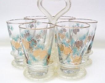 Vintage Bar Glasses | Libbey Juice Glasses | Cocktail Glasses | Lowball Glasses | Plastic Caddy | Pinecone Glasses