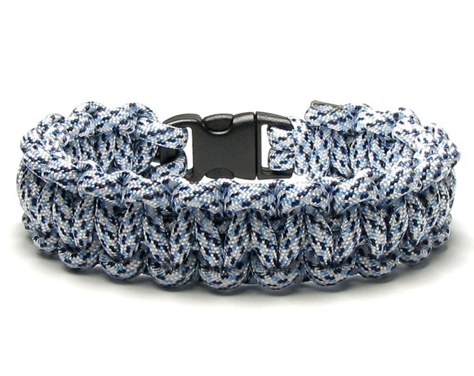 Paracord Bracelet Arctic Digital Survival Accessory White Blue Black Spec Winter Snow Ice Hunting Outdoorsman Hiker Military Mom Camper Gift