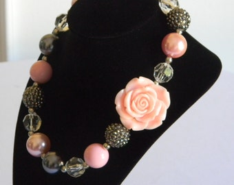 Girls Boutique Necklace Pink and Silver with Off Center Rose Portraits Birthday Pageant Toddler Bubble Bead Jewelry Back to School Easter