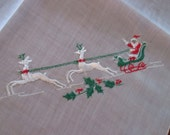Vintage Cotton Christmas Hankie Hankerchief Created By Kimball Made In Switzerland Embroidered Santa Sleigh Reindeer ShipsWorldwide